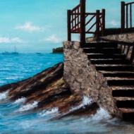 La scalinata verso il mare 40 x 50 cm